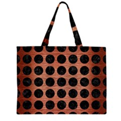 CIR1 BK MARBLE COPPER (R) Large Tote Bag