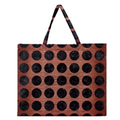 Circles1 Black Marble & Copper Brushed Metal (r) Zipper Large Tote Bag