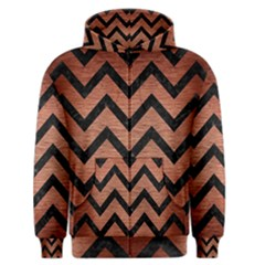 Chevron9 Black Marble & Copper Brushed Metal (r) Men s Zipper Hoodie