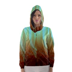 Floating Teal And Orange Peach Hooded Wind Breaker (women)