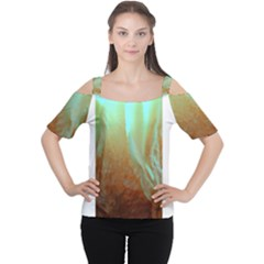Floating Teal And Orange Peach Women s Cutout Shoulder Tee