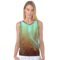 Floating Teal And Orange Peach Women s Basketball Tank Top