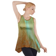 Floating Teal And Orange Peach Side Drop Tank Tunic