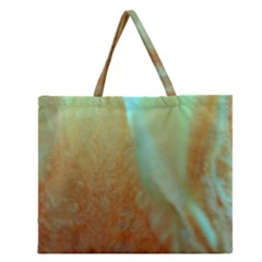 Floating Teal and Orange Peach Zipper Large Tote Bag
