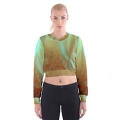 Floating Teal and Orange Peach Women s Cropped Sweatshirt