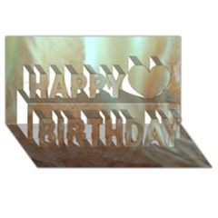 Floating Subdued Orange And Teal Happy Birthday 3d Greeting Card (8x4)