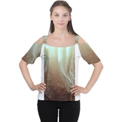 Floating Subdued Orange and Teal Women s Cutout Shoulder Tee