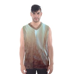 Floating Subdued Orange and Teal Men s Basketball Tank Top