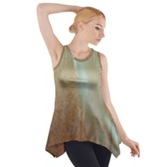 Floating Subdued Orange And Teal Side Drop Tank Tunic
