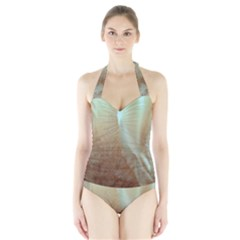 Floating Subdued Orange and Teal Women s Halter One Piece Swimsuit