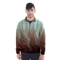 Floating Subdued Orange And Teal Wind Breaker (men)