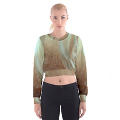 Floating Subdued Orange and Teal Women s Cropped Sweatshirt