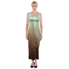 Floating Subdued Orange and Teal Fitted Maxi Dress
