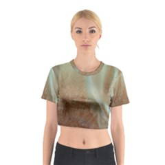 Floating Subdued Orange and Teal Cotton Crop Top