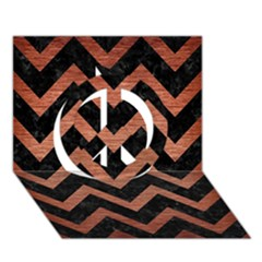 Chevron9 Black Marble & Copper Brushed Metal Peace Sign 3d Greeting Card (7x5)