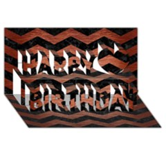Chevron3 Black Marble & Copper Brushed Metal Happy Birthday 3d Greeting Card (8x4)