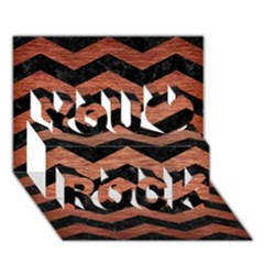Chevron3 Black Marble & Copper Brushed Metal You Rock 3d Greeting Card (7x5)