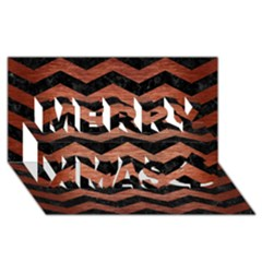 Chevron3 Black Marble & Copper Brushed Metal Merry Xmas 3d Greeting Card (8x4)