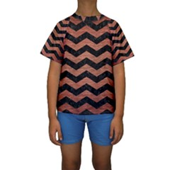 Chevron3 Black Marble & Copper Brushed Metal Kids  Short Sleeve Swimwear