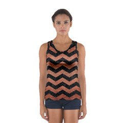 Chevron3 Black Marble & Copper Brushed Metal Sport Tank Top