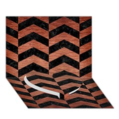 Chevron2 Black Marble & Copper Brushed Metal Heart Bottom 3d Greeting Card (7x5)