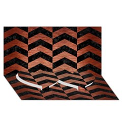 Chevron2 Black Marble & Copper Brushed Metal Twin Heart Bottom 3d Greeting Card (8x4)