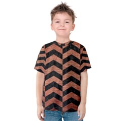 Chevron2 Black Marble & Copper Brushed Metal Kids  Cotton Tee