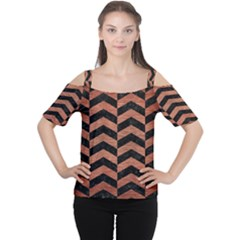 CHV2 BK MARBLE COPPER Women s Cutout Shoulder Tee