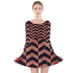 CHV2 BK MARBLE COPPER Long Sleeve Velvet Skater Dress