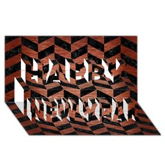 Chevron1 Black Marble & Copper Brushed Metal Happy New Year 3d Greeting Card (8x4)