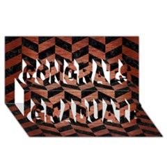 Chevron1 Black Marble & Copper Brushed Metal Congrats Graduate 3d Greeting Card (8x4)
