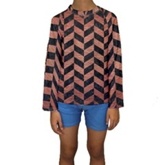 Chevron1 Black Marble & Copper Brushed Metal Kids  Long Sleeve Swimwear