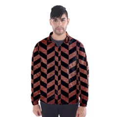 Chevron1 Black Marble & Copper Brushed Metal Wind Breaker (men)