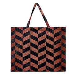 CHV1 BK MARBLE COPPER Zipper Large Tote Bag