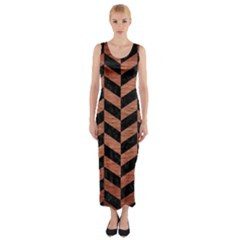 Chevron1 Black Marble & Copper Brushed Metal Fitted Maxi Dress