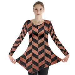 Chevron1 Black Marble & Copper Brushed Metal Long Sleeve Tunic