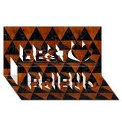 Triangle3 Black Marble & Brown Burl Wood Best Friends 3d Greeting Card (8x4)
