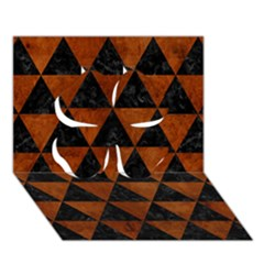 Triangle3 Black Marble & Brown Burl Wood Clover 3d Greeting Card (7x5)
