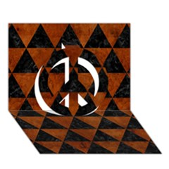 Triangle3 Black Marble & Brown Burl Wood Peace Sign 3d Greeting Card (7x5)