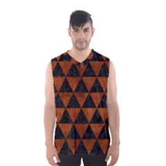 Triangle3 Black Marble & Brown Burl Wood Men s Basketball Tank Top