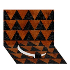 Triangle2 Black Marble & Brown Burl Wood Circle Bottom 3d Greeting Card (7x5)