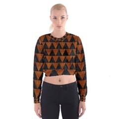 Triangle2 Black Marble & Brown Burl Wood Cropped Sweatshirt