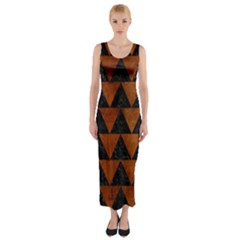 Triangle2 Black Marble & Brown Burl Wood Fitted Maxi Dress
