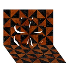 Triangle1 Black Marble & Brown Burl Wood Clover 3d Greeting Card (7x5)