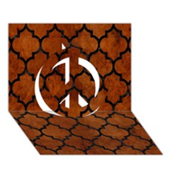 Tile1 Black Marble & Brown Burl Wood (r) Peace Sign 3d Greeting Card (7x5)