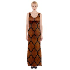 TIL1 BK MARBLE BURL (R) Maxi Thigh Split Dress