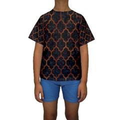 TIL1 BK MARBLE BURL Kid s Short Sleeve Swimwear