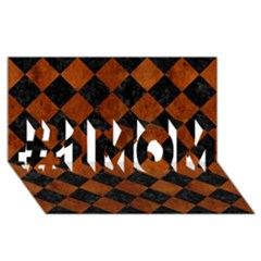 Square2 Black Marble & Brown Burl Wood #1 Mom 3d Greeting Cards (8x4)