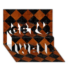 Square2 Black Marble & Brown Burl Wood Get Well 3d Greeting Card (7x5)