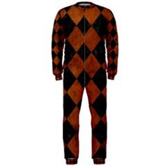 Square2 Black Marble & Brown Burl Wood Onepiece Jumpsuit (men)